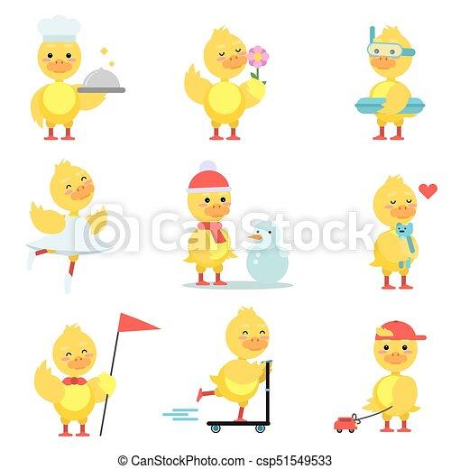 engraçado, diferente, cute, jogo, situações, duckling, amarela, vetorial, caráteres, pato, ilustrações, poses, caricatura - csp51549533