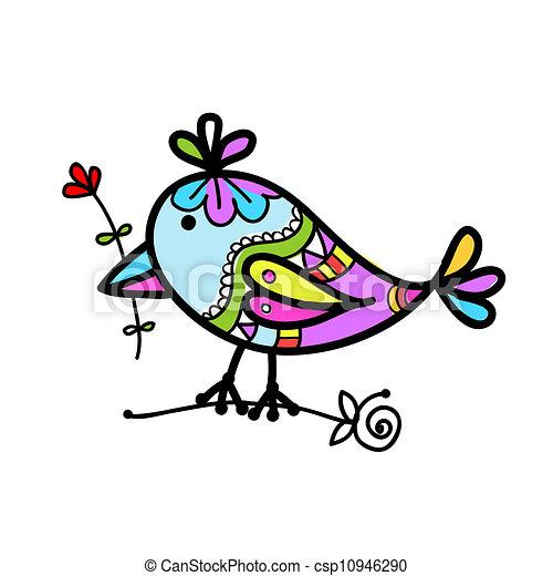 Engracado Esboco Coloridos Desenho Passaro Seu