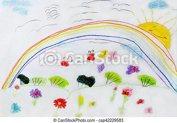 Engracado Infantil Flores Desenho Arco Iris Engracado