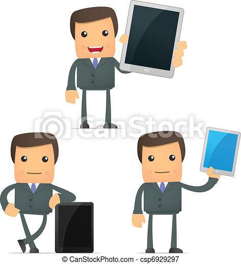 engraçado, laptop, caricatura, homem negócios - csp6929297