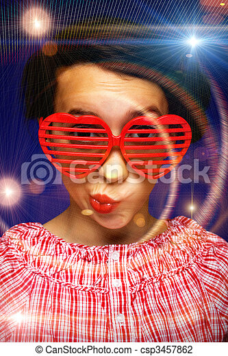 engraçado, menina, óculos de sol, jovem - csp3457862