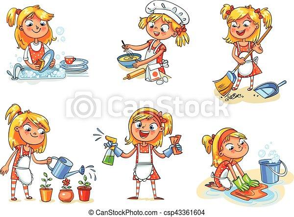 engraçado, ocupado, casa, personagem, cleaning., menina, home., caricatura - csp43361604