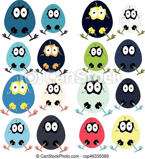 engraçado, ovos, páscoa, fundo branco - csp46335069