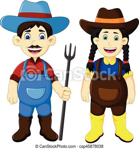 engraçado, par, ancinho, segurando, agricultor, caricatura - csp45878038
