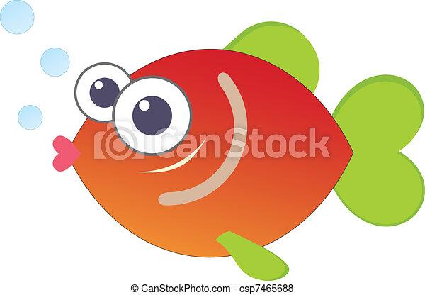 engraçado, peixe, caricatura - csp7465688
