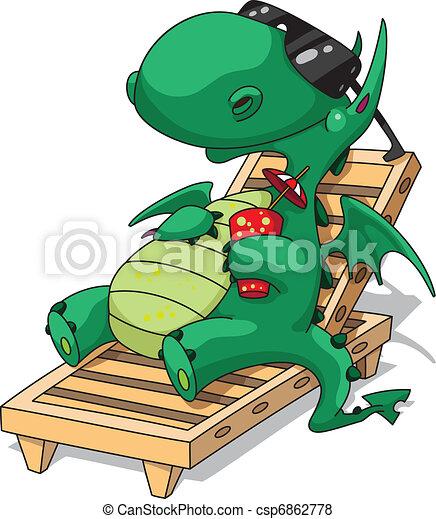 engraçado, relaxamento, dragão - csp6862778