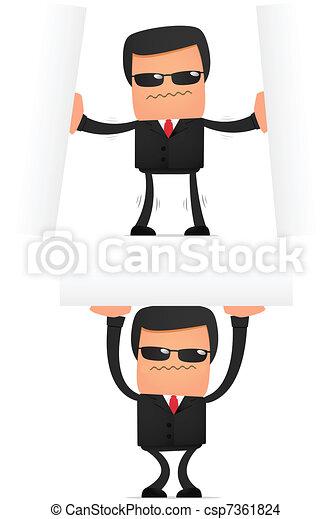 engraçado, segurança, jogo, caricatura - csp7361824