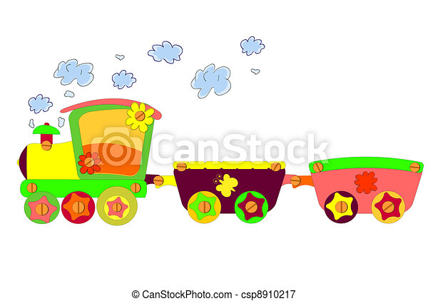engraçado, trem, vetorial - csp8910217
