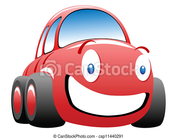 engraçado, vetorial, ilustração, corra carro - csp11440291