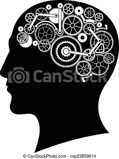Cabeza con cerebro de engranaje - csp23859614