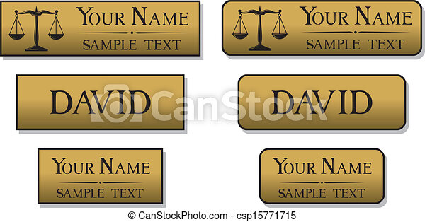 engraved metal name badges - csp15771715