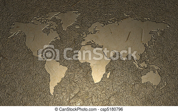 Engraved World Map - csp5180796
