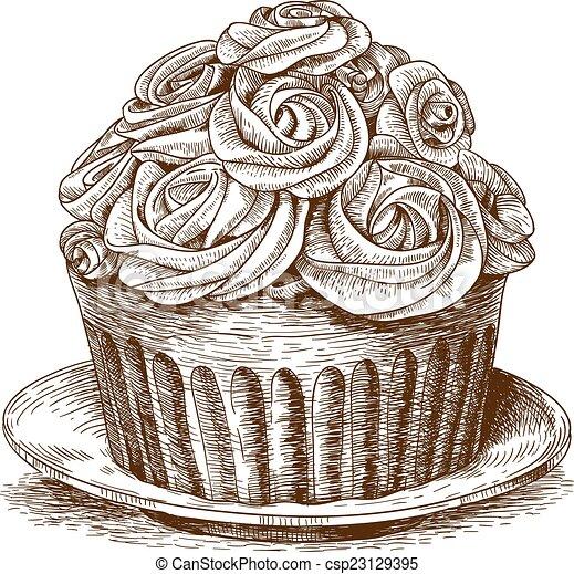 engraving cake on white background - csp23129395