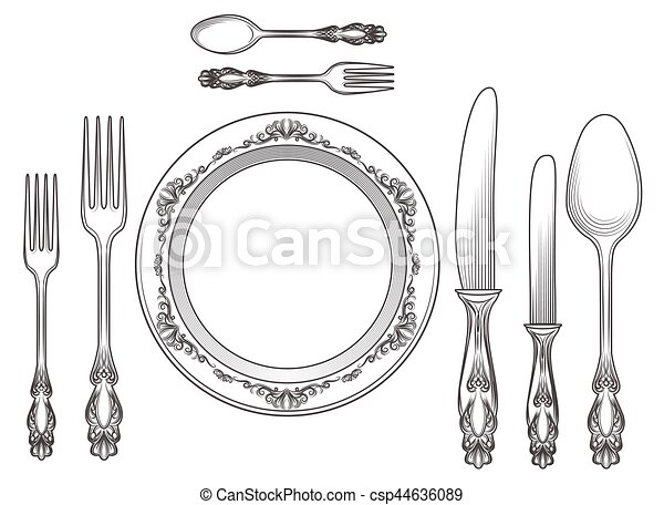 Engraving cutlery and dinner plates - csp44636089
