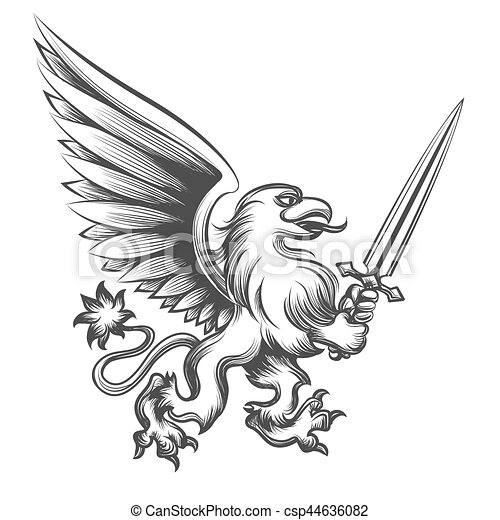 Engraving griffin with sword - csp44636082