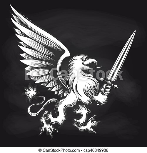 Engraving griffin with sword on chalkboard - csp46849986