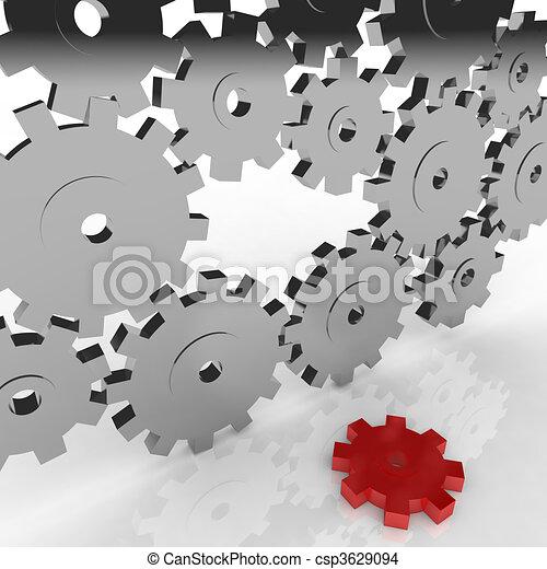 engrenage, -, une, machine, cassé, chutes, dehors - csp3629094