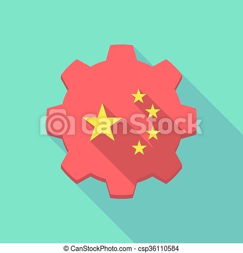 engrenagem, símbolo, longo, bandeira, cinco, estrelas, china, sombra, ícone - csp36110584