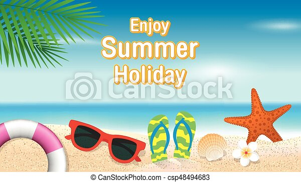 Enjoy Summer Holiday Background Season Vacation Weekend Vector Illustration