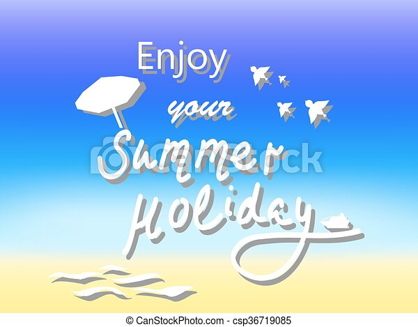 Enjoy Summer Holiday Vector Postcard Illustration With Text For Vacation Season
