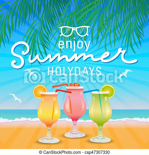 Enjoy Summer Holidays Background Hand Letter