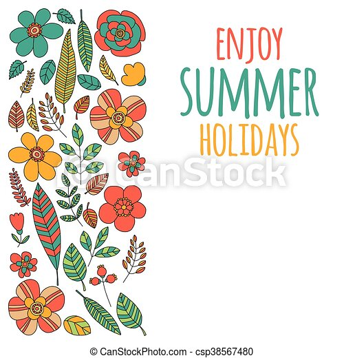 Enjoy Summer Holidays Quote With Doodle Flowers Vector