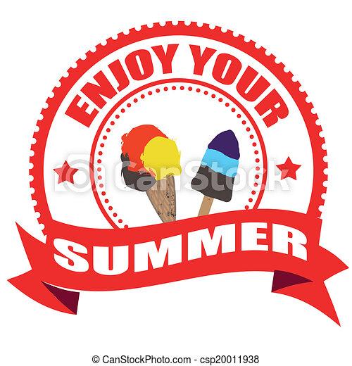 enjoy your summer stamp enjoy your summer label stamp with on