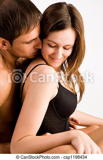 Enjoying his warmth in my neck - csp1198434