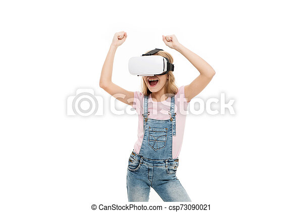 Enjoying new experience. The future of VR is here. Little girl wearing virtual reality headset. Future of entertainment and education. The future of entertainment. Future concept - csp73090021