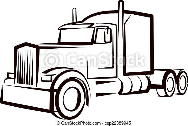 enkel, lastbil, illustration - csp22389945