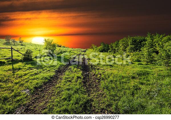Sunset en Sugar Ridge Road, Ennis, TX - csp26990277