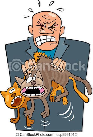 Hombre enojado con gatos - csp5961912