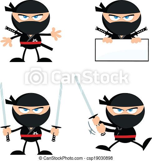 Una colección de guerreros ninja enojados 1 - csp19030898