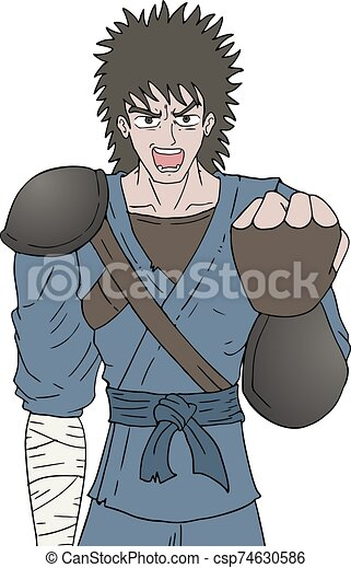enojado, ilustración, guerrero - csp74630586