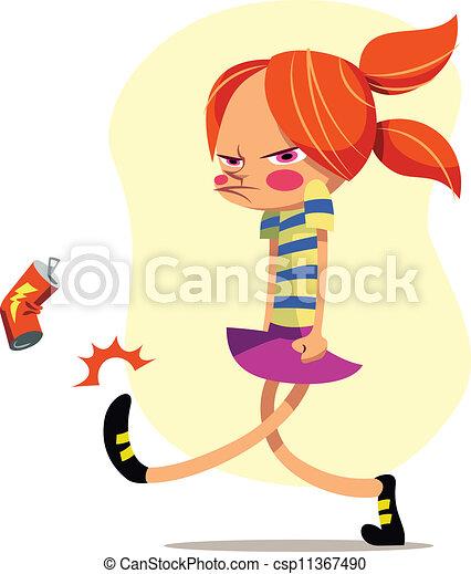 Una ilustración vectorial de una chica enojada pateando una lata de refresco - csp11367490