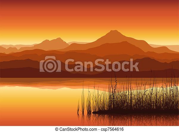 enorme, pôr do sol, lago, montanhas - csp7564616