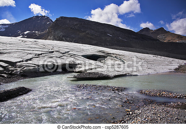 Enormous thawing glacier. A stream of thawed snow - csp5287605