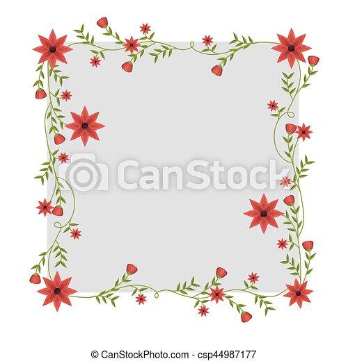 Enredaderas Marco Cuadrado Flores Rojo Cuadrado Marco