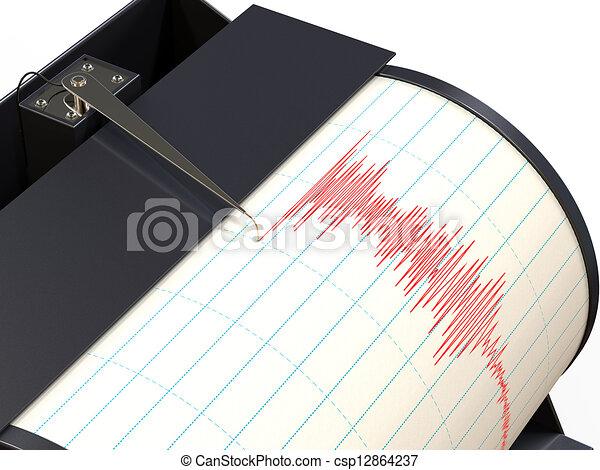 enregistrement, sismographe, mouvement, instrument, pendant, séisme, terrestre - csp12864237