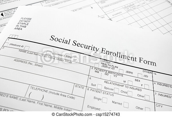Closeup Of A Social Security Enrollment Form  Stock Photo  Search