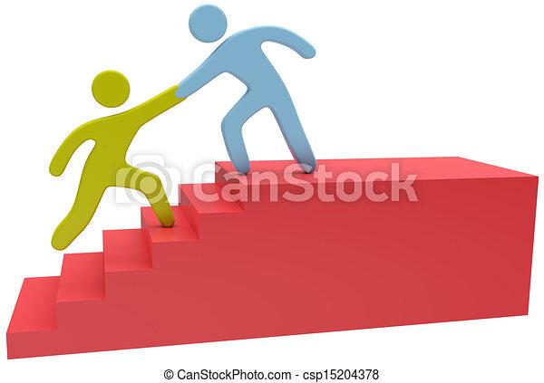La gente ayuda a subir las escaleras - csp15204378