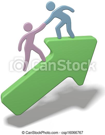 La gente ayuda a unir las flechas - csp16066767