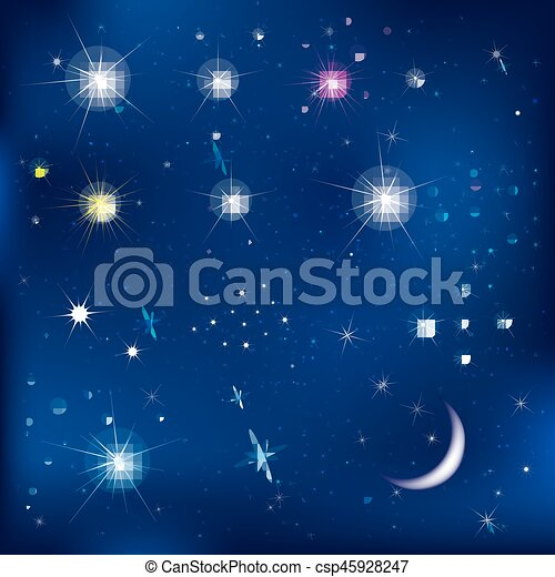 ensemble, étoiles, lune - csp45928247