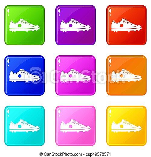 ensemble, 9, chaussure football, icônes - csp49578571