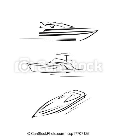 ensemble, accélérez bateau, collection - csp17707125