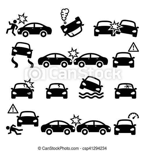 Ensemble accident ic nes personnel voiture vecteur fracas blessure route ensemble - Coloriage cars accident ...