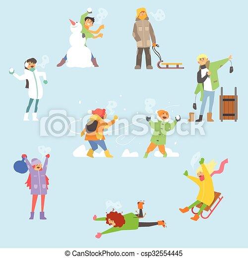 ensemble, activities., hiver, illustration, vecteur, amusement - csp32554445