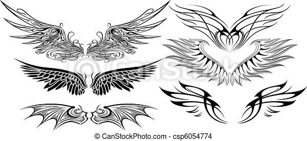 Ensemble ailes illustration - Dessin de coeur avec des ailes ...