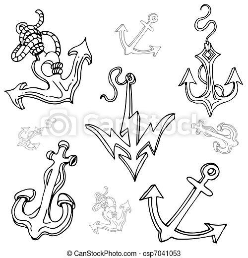 Ancre De Bateau Dessin ensemble, ancre, bateau, dessin. image, set., dessin, bateau, ancre.