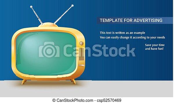 ensemble, annonce, toile de fond, tv, vendange, écran, affiche, long, réaliste, vert, jaune, gabarit, vide, antennes, illustration., horizontal, 3d, retro - csp52570469